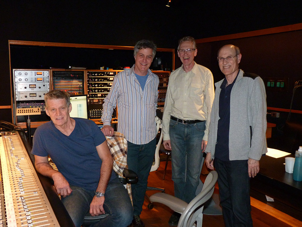 "In the booth at EastWest Studios in Hollywood March 22 for one of the  final episodes of ""Mad Men"" - engineer Jim Hall, composer David Carbonara, contractor John Rosenberg, and orchestrator Geoff Stradling. Photo: Linda A. Rapka"