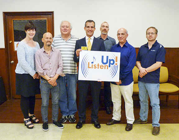 Los Angeles Mayor Eric Garcetti — recently named Honorary Member of Local 47 — shows his support of  Listen Up! pictured above with rank-and-file Listen Up! campaign members Elizabeth Hedman, Marc Sazer, Phil Ayling, Doug Tornquist, Rafael Rishik, and Neil Samples. Photo by Kori Chappell