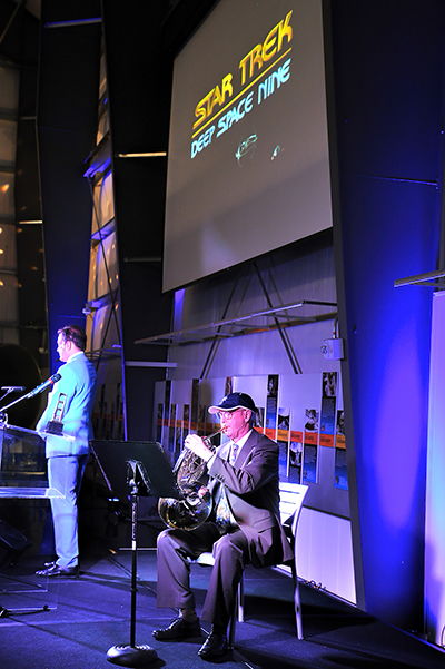"Horn player Brian O'Connor received the Tenacious Bravery Award at UCLA's Golden Portal Awards July 12, where the two-time brain tumor survivor performed two of the horn solos he originally played on the TV series ""Star Trek: Deep Space Nine"" and ""Star Trek: Generations."" Photo: Vince Bucci"