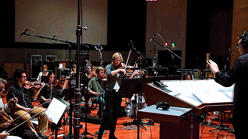 "Concertmaster Katia Popov performs a violin solo during the recording session with the Hollywood Studio Symphony for Lior Rosner's debut classical album, ""Awake and Dream."" Photo courtesy of Lior Rosner"