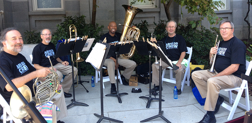 Brass musicians of the Sacramento Philharmonic provided live entertainment throughout the event