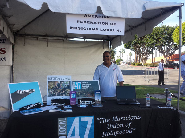 Local 47 Electronic Media Division Administrator Gordon Grayson and Communications Director Linda Rapka manned the Local 47 booth at the Union Jobs Festival  on Saturday, Oct. 4 at Crenshaw Baldwin Hills Plaza. Photo by Linda A. Rapka