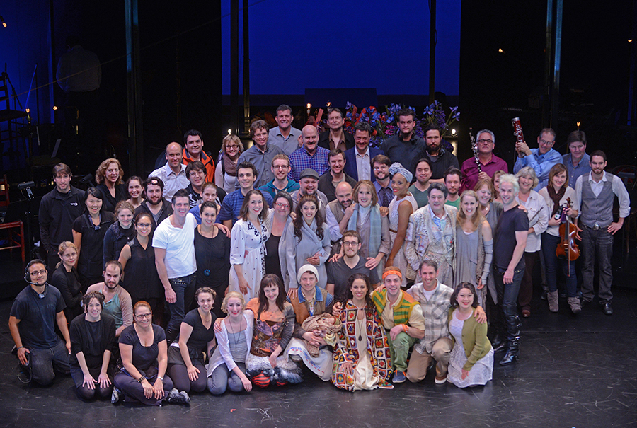 "The entire cast and orchestra of ""Into the Woods"" on the stage of the Wallis Annenberg Center. The orchestra included AFM musicians from Oregon and Los Angeles, contracted by Dan Savant and led by Martin Majkut, who performed front and center on the stage during the entire three-hour performance. Photo: Kevin Parry"