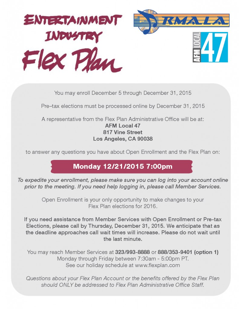 Flex Plan Open Enrollment 12-2015