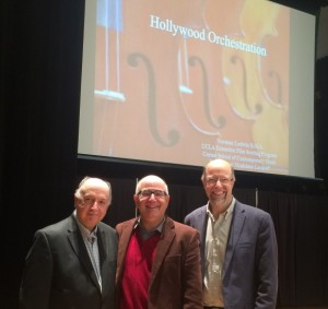 Patrick Hollenbeck (President of the Boston Musicians' Association), Dr. Norman Ludwin, and Northeastern University music professor Bradley Hatfield.