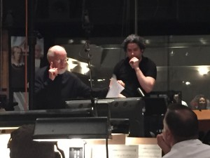 "Composer John Williams with guest conductor Gustavo Dudamel during one of the scoring sessions for ""Star Wars: The Force Awakens"" at Sony Studios. Photo courtesy Don Williams"