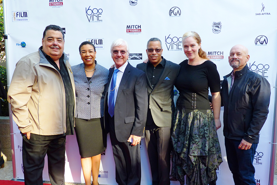 "AFM, RMA & FMSMF representatives at the ""Made in Hollywood Honors"" event featuring composer John Williams. From left: Rick Baptist, Kim Roberts Hedgpeth, Gary Lasley, Gordon Grayson, Elizabeth Hedman, Marc Sazer. (Photo by Linda A. Rapka/AFM Local 47)"