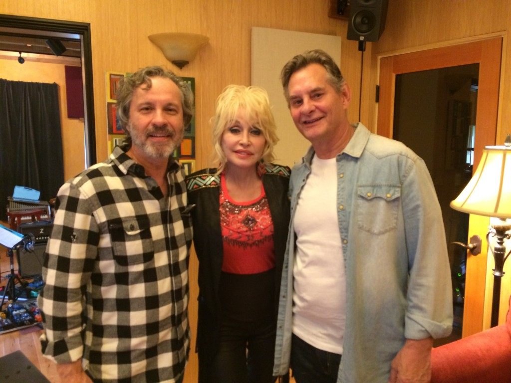 Composers Mark Leggett (left) and Velton Ray Bunch (right) with Dolly Parton. Photo by Crystal Mangano