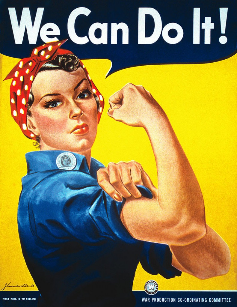 "In 1942, Pittsburgh artist J. Howard Miller was hired by the Westinghouse Company's War Production Coordinating Committee to create a series of posters for the war effort. One of these posters became the famous ""We Can Do It!"" image—an image that in later years would also be called ""Rosie the Riveter,"" though it was never given this title during the war. It was only later, in the early 1980s, that the Miller poster was rediscovered and became famous, associated with feminism, and often mistakenly called ""Rosie The Riveter."" (Illustrator: J. Howard Miller. Public Domain)"