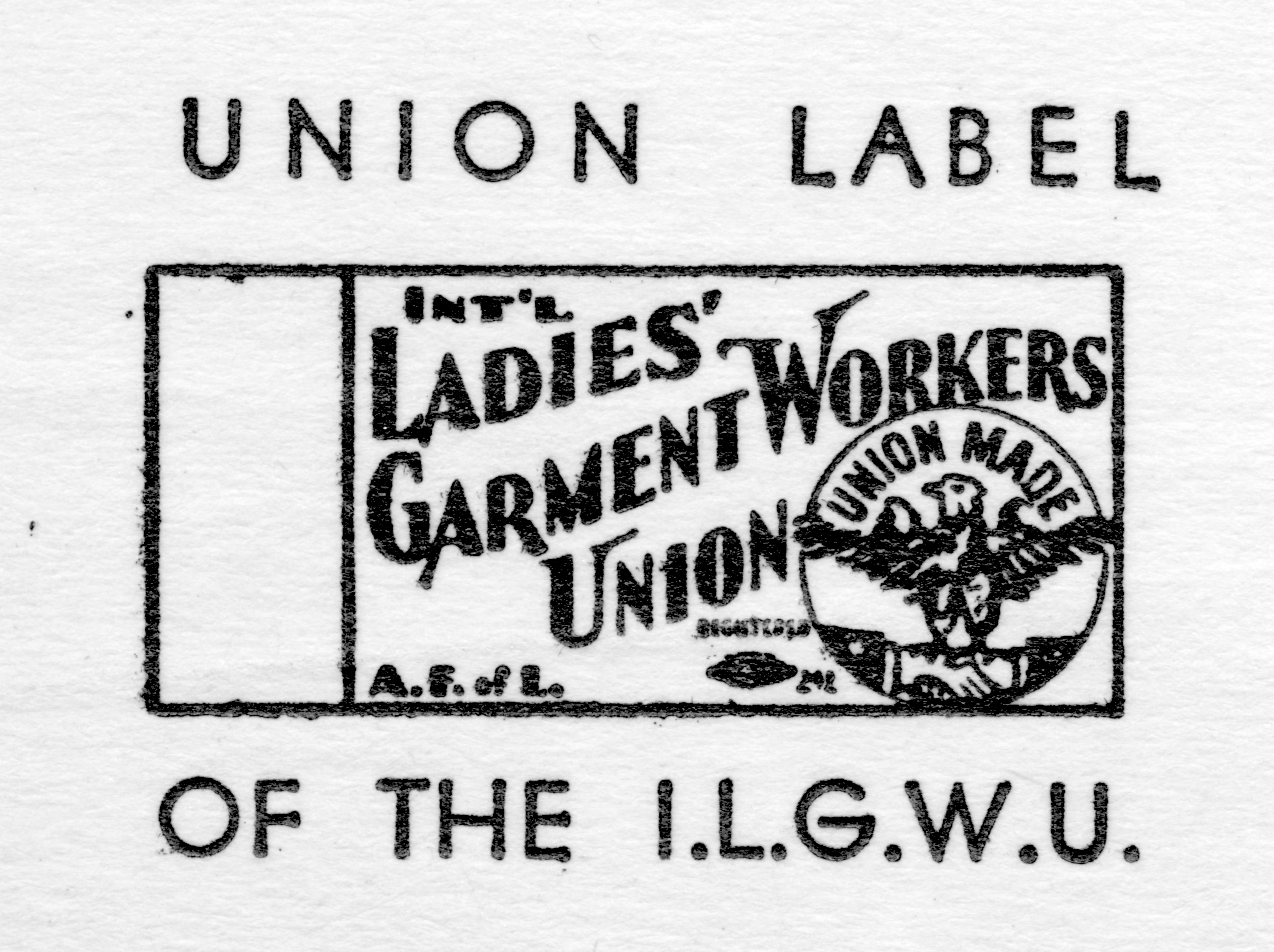 """Look for the Union Label..."" When ILGWU founders met on June 3, 1900 and named their union, they immediately adopted a label for it. Early results were encouraging but use remained limited and after 5 years the first label drive ended with only one company in Kalamazoo continuing to use the label. ILGWU called for use of a union label at its first convention. Its use was slow to take hold however, as it was optional and seen as being of limited use. (Cornell University ILR School / Kheel Center ILGWU Collection)"