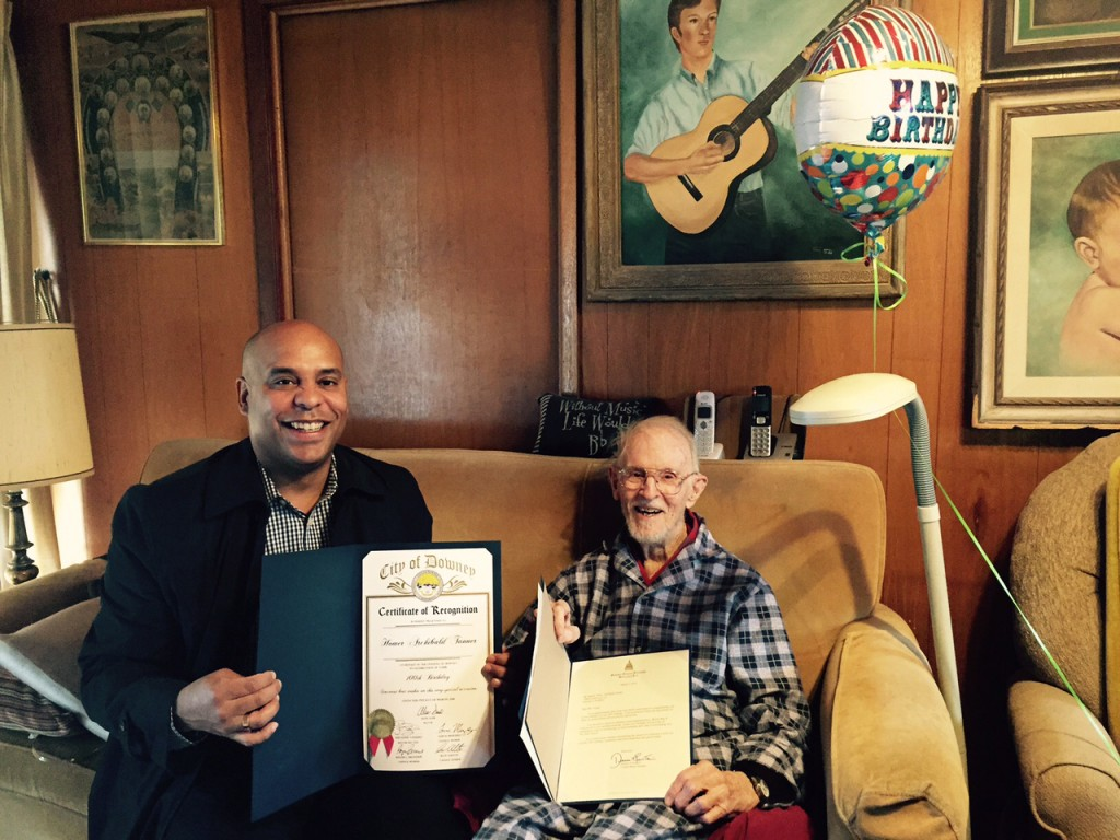 "Local 47 President John Acosta with Life Member Homer Archibald ""Slim"" Tanner, celebrating Slim's 100th birthday! (Photos by Linda A. Rapka)"