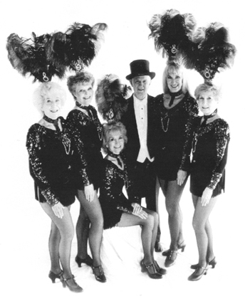 ALWAYS A LADIES MAN... Slim surrounded by his gal's tap group, Tiny's Troupers: Beverly, Lillian, Tiny, Helen and Flora.