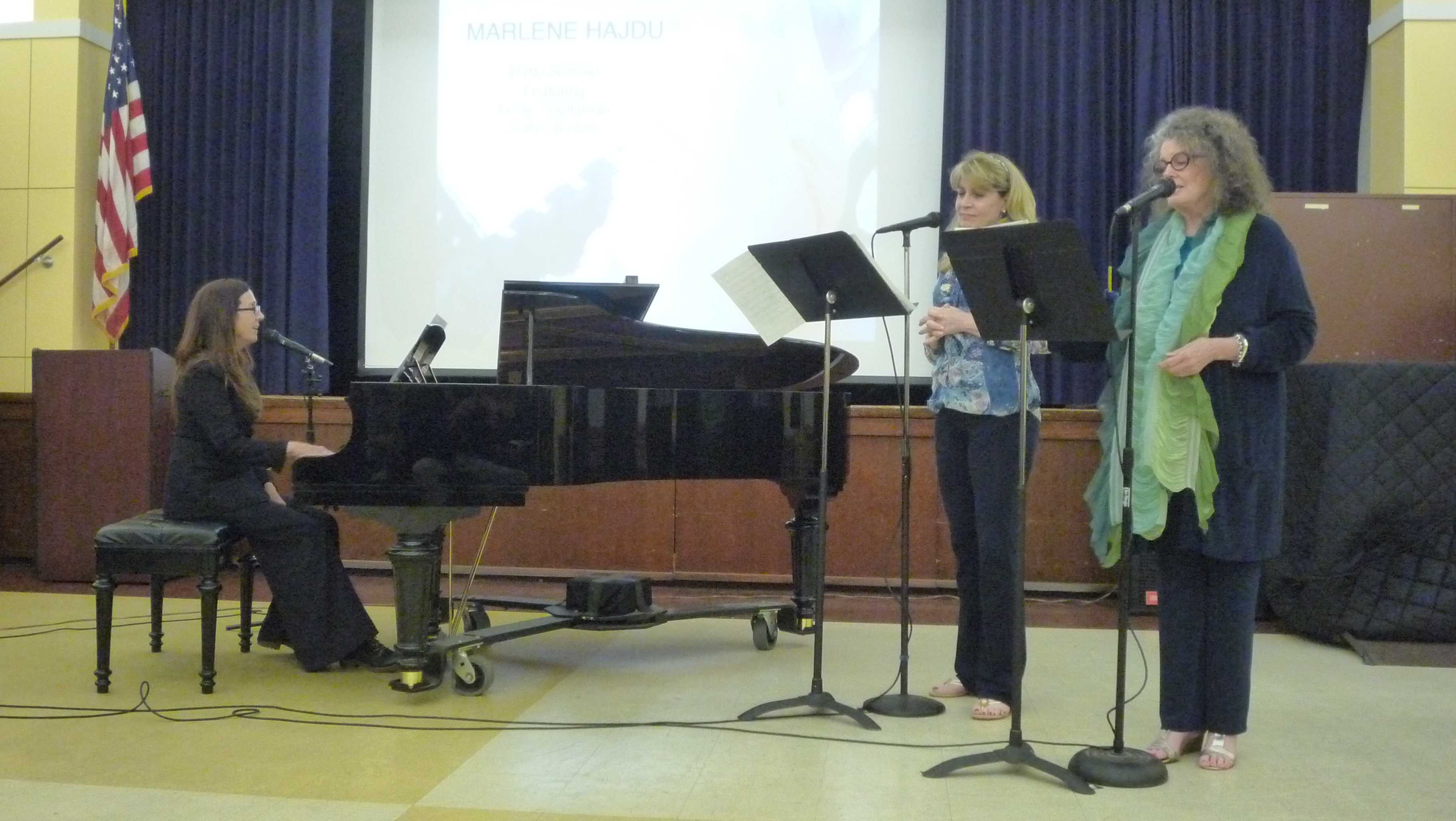 Marlene Hajdu performs a new piece with vocalists Leslie Soultanian and Sally Stevens.