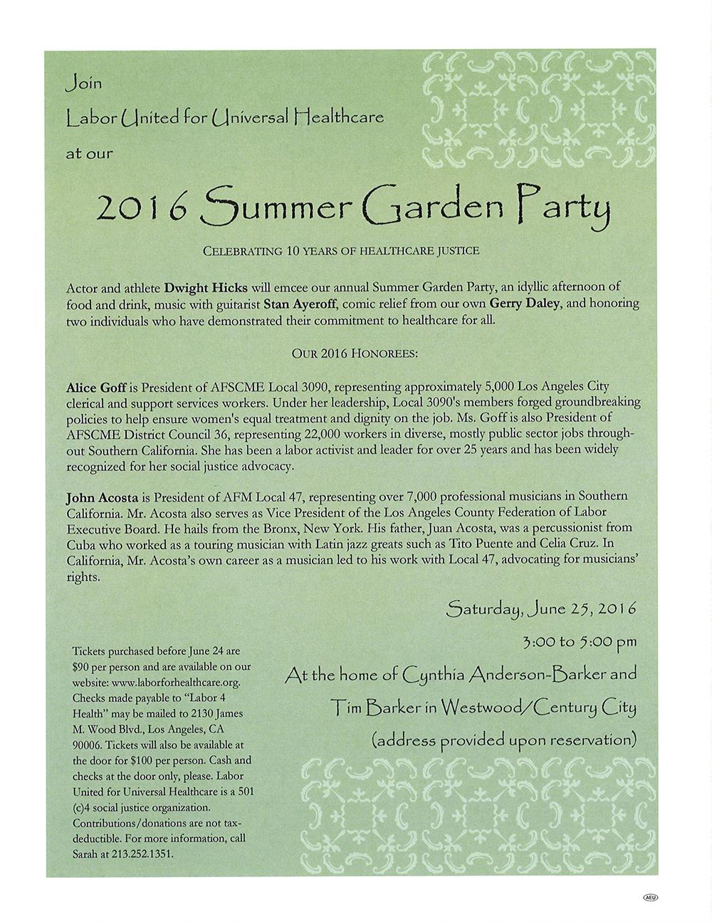 2016 Summer Garden Party
