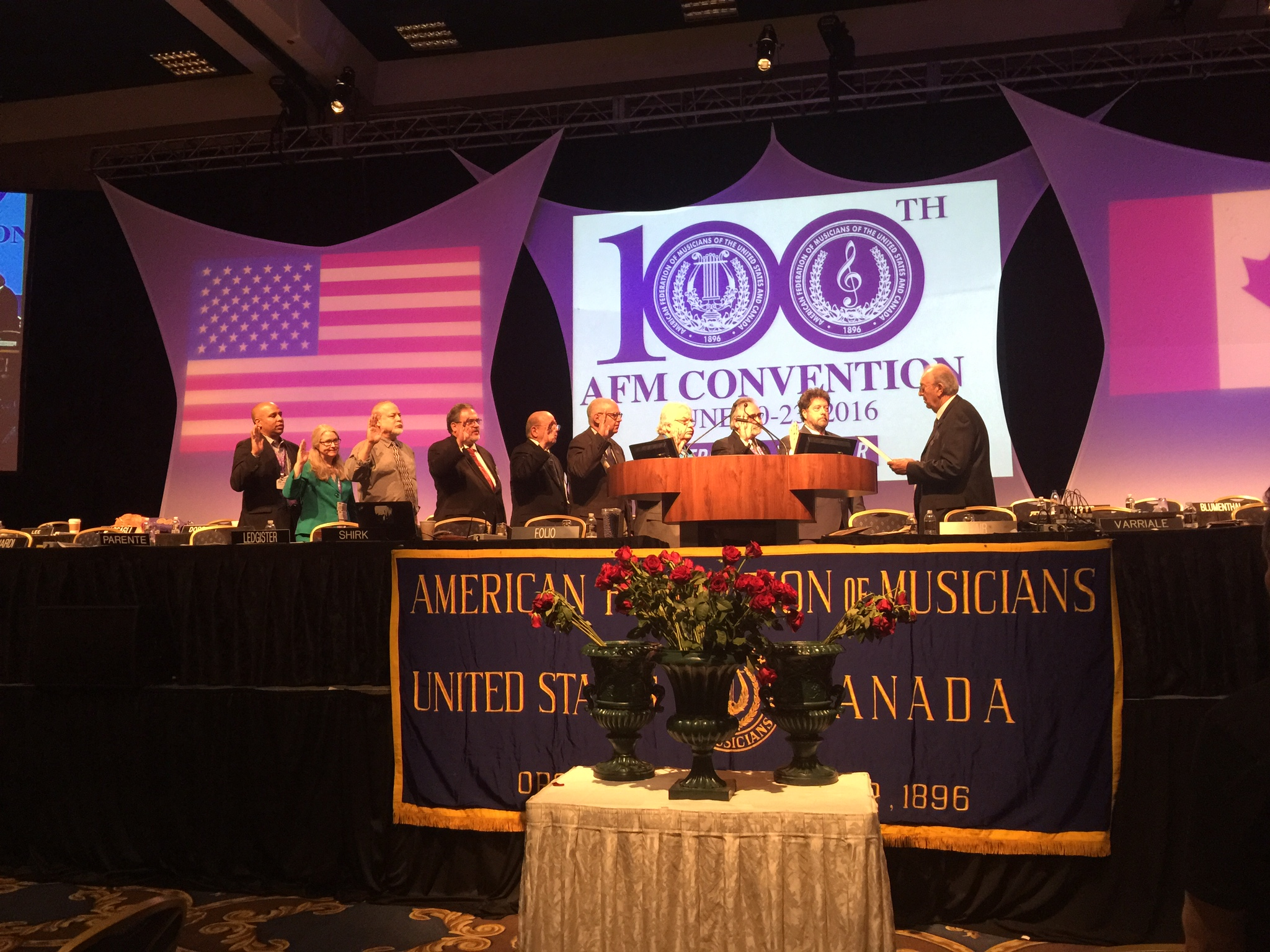 The new AFM International Executive Board members - including our own President John Acosta - being sworn in at the 100th Convention. (Photo: Bonnie Janofsky)