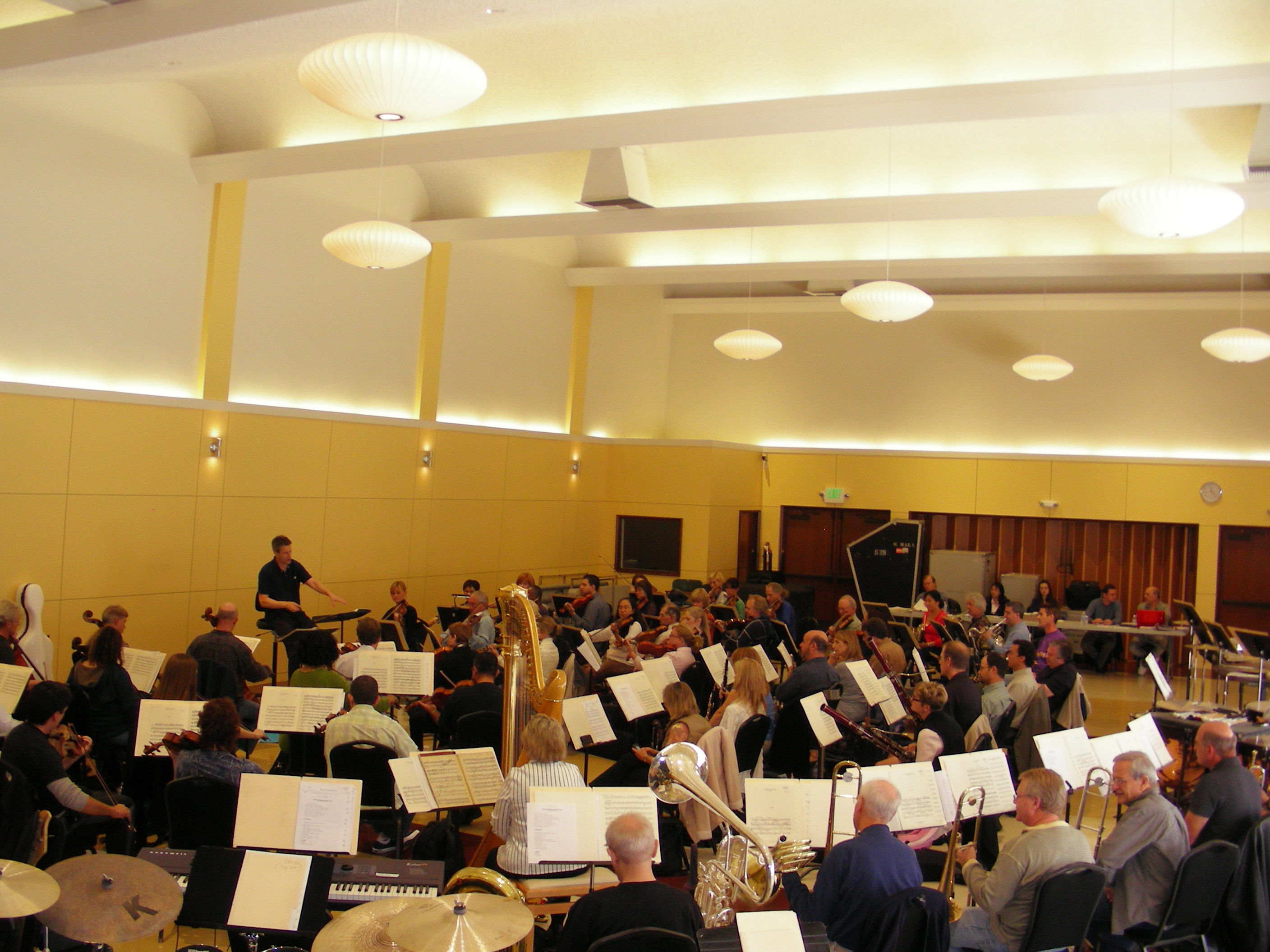The Hollywood Bowl Orchestra in rehearsal for a concert with Andrea Bocelli in the Local 47 Serena Kay & Earl Williams Auditorium, 2009